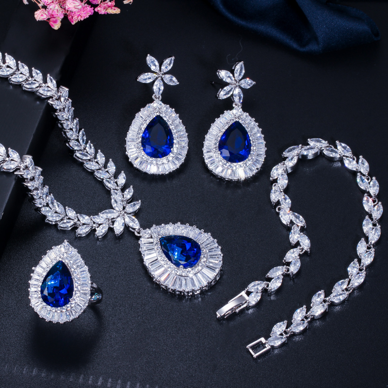 Image 5 - CWWZircons Water Drop Royal Blue CZ Necklace Earrings Ring And  Bracelet 4 Piece Wedding Jewelry Set For Women Bridal Party T098Jewelry  Sets
