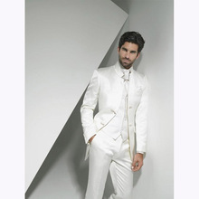 2017 Groom Tuxedo men suit ivory Groomsmen smoking terno masculino Wedding Suits for Mens vestido de festa (Jacket+Pants+Vest)