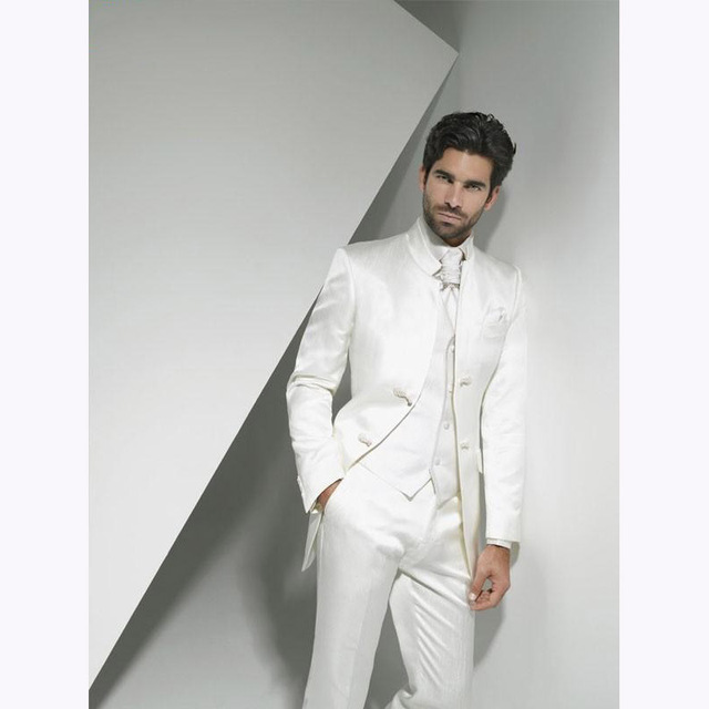 2017 Groom Tuxedo men suit ivory Groomsmen smoking terno masculino Wedding Suits for Mens vestido de festa (Jacket+Pants+Vest)