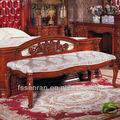 Estilo clásico europeo y Americano, cama de madera maciza taburete, cama de madera maciza tallada taburete