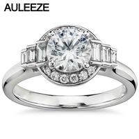 1 карат кольца с искусственными бриллиантами для женщин багет Cut Настоящее алмаз Solid 14 к 585 Белое золото ювелирные изделия обручение обручаль...