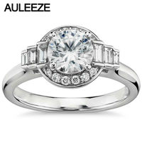 1 Carat Moissanites Rings For Women Baguette Cut Real Diamond Solid 14K 585 White Gold Jewelry Engagement Wedding Ring