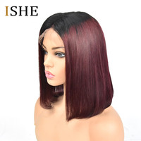 1B 99J Red burgundy Ombre Lace Front Human Hair Bob Wigs 13x6 Deep Part Straight Preplucked Remy Hair Full Black Knots For Women