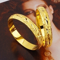 Low price Noble Handcarved 24k Yellow Gold Filled Lady's Bangle 60mm Openable Bracelet Women GF Jewelry 10mm Width