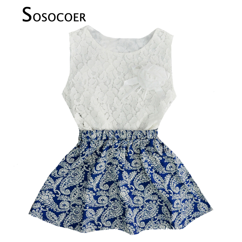SOSOCOER Baby Girl Clothing Sets Lace T Shirt Top+Skirts 2pcs Kids Set 2017 Summer Blue And White Clothing Set For Girls Clothes 2pcs children outfit clothes kids baby girl off shoulder cotton ruffled sleeve tops striped t shirt blue denim jeans sunsuit set