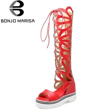 BONJOMARISA Gladiator women's Sandals Lace Up Hollow Out High Heel Wedge Platform Shoes Woman Open Toe Footwear Big Size 34-43