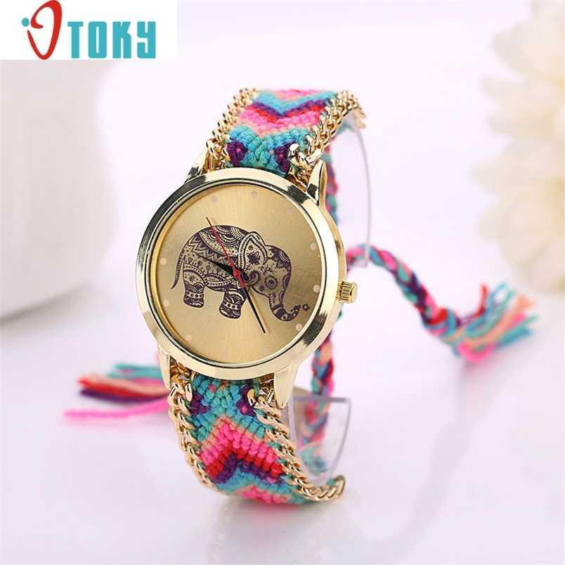 Cinese orologio da polso per Le Donne Elefante Modello di Tessuto Corda Della Fascia Del Braccialetto Del Quarzo Dialwatch Regalo Oulm relogio uhren Ma31