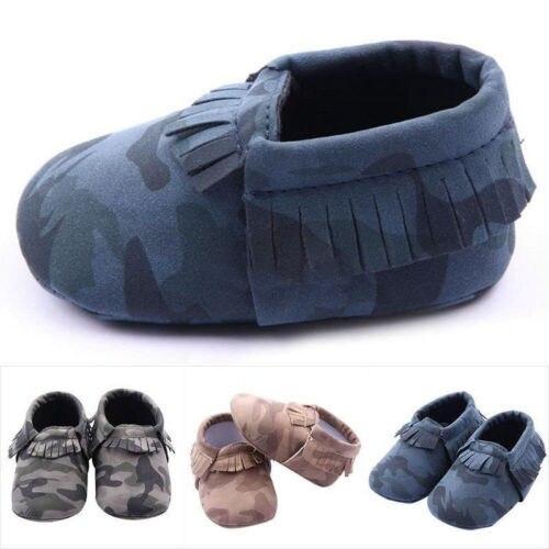 Little one shoes Soft Sole Fringe Baby Infant Toddler Kids Boy Camo Shoes 3-12M