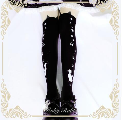 Precioso Gato y Las Patas Impreso Gothic Lolita Medias Pantyhose de la Muchacha por Ruby Conejo