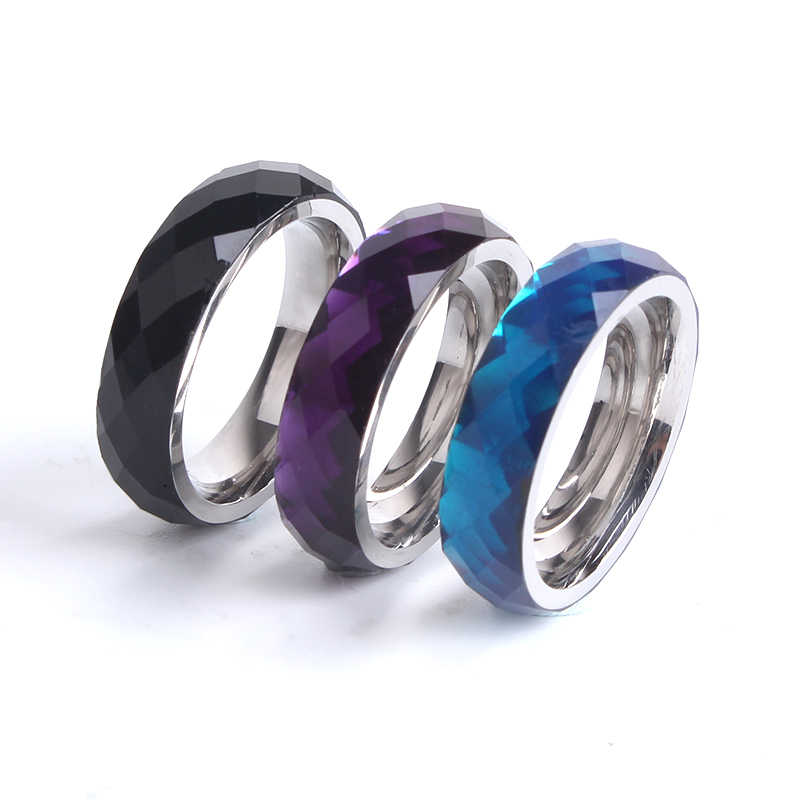 6mm three colors Section Acrylic 316L Stainless Steel finger rings for men wholesale