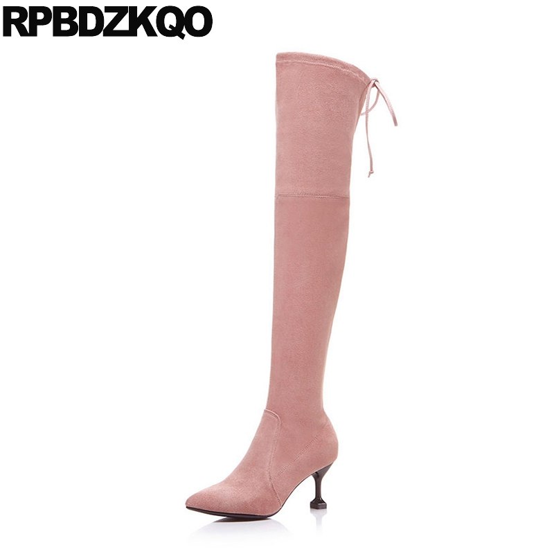Strange Long Knee High Shoes Tall Suede Over The Sheepskin Stretch Pink Pointed Toe Stiletto Slim Thigh Women Boots Lace Up Heel leopard synthetic suede women pointed toe high stiletto heel boots knee high lace up bootie women platform shoes ladies 2016