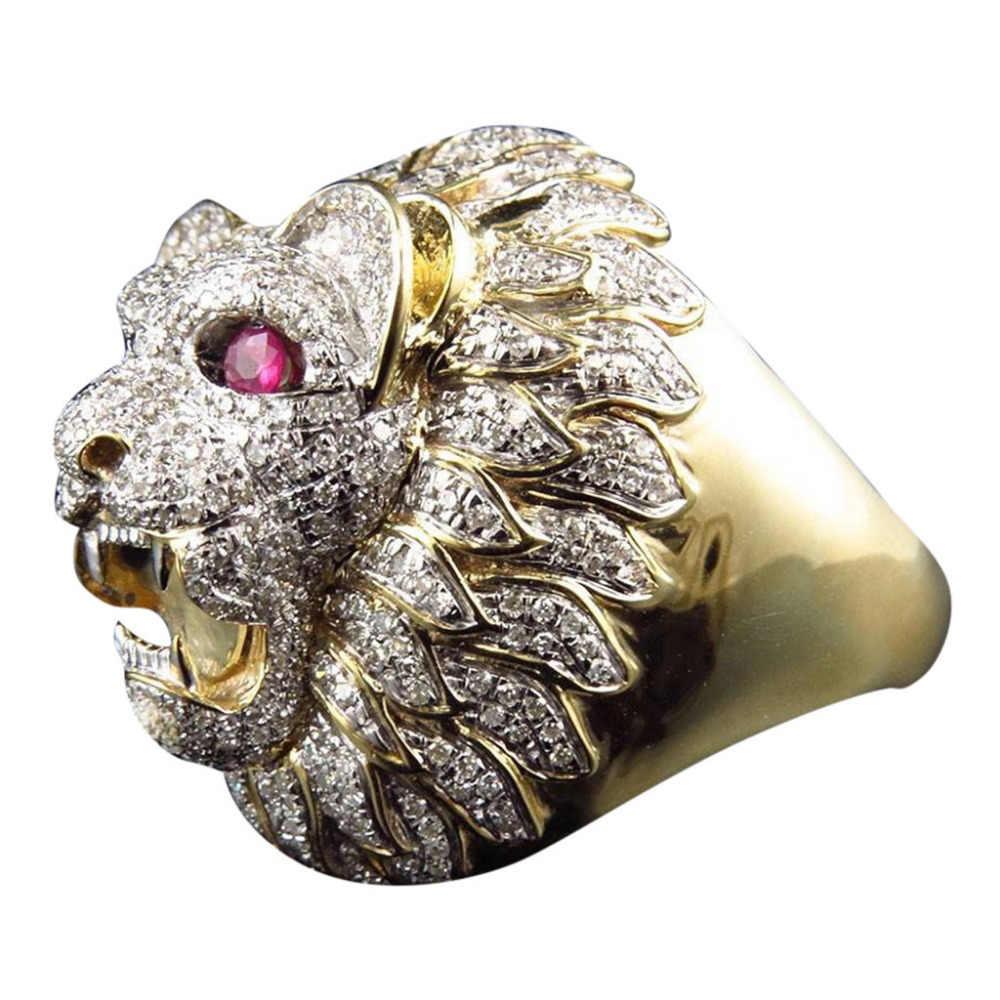 Männer Mode-Ring Punk Stil Lion Kopf Gold Anillos Gefüllt Natürliche Ring Schmuck Zubehör Ornamente Ringe Pendientes Anel