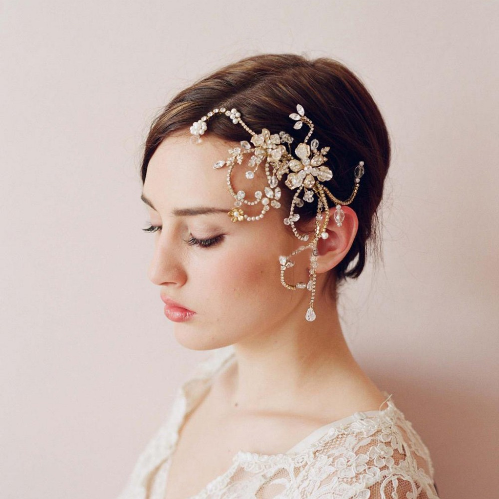 gold adjust sparking crystal bridal hairpin high quality handmade