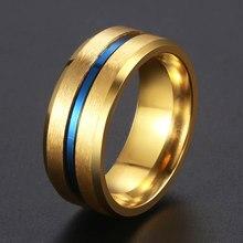 2fb0d8fd99f0 Banda de boda anillos para hombres oro azul ranura anillo de los hombres de  acero inoxidable mate de moda de hombre joyería rega.