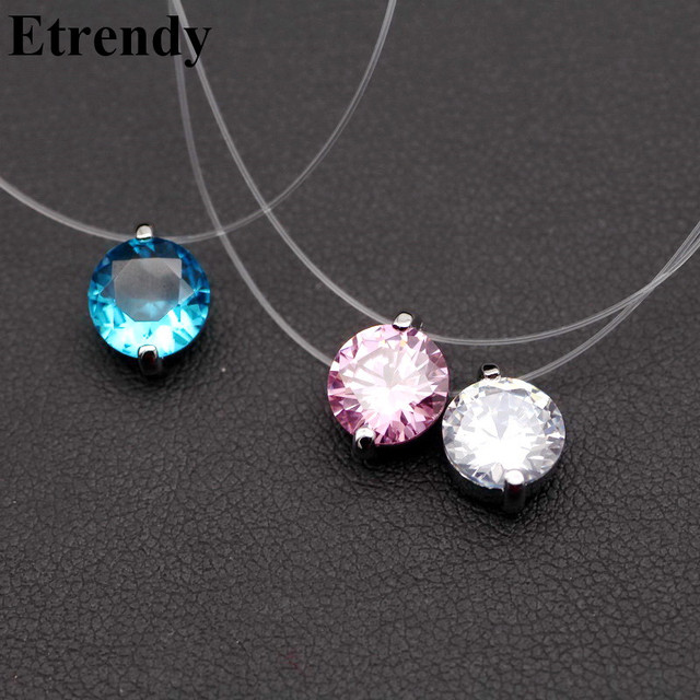 Invisible Line Colorful Zircon Necklace Women Choker Fashion Jewelry Bijoux Femme Colar 2018 Mothers Day Gift Best Friends Pink