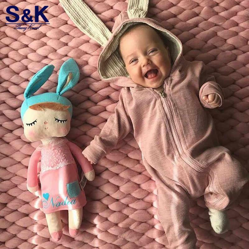 Детские комбинезоны с милым кроликом и капюшоном; комбинезон с длинными рукавами для малышей; одежда для маленьких мальчиков и девочек; хлопковый костюм для новорожденных; XH-381