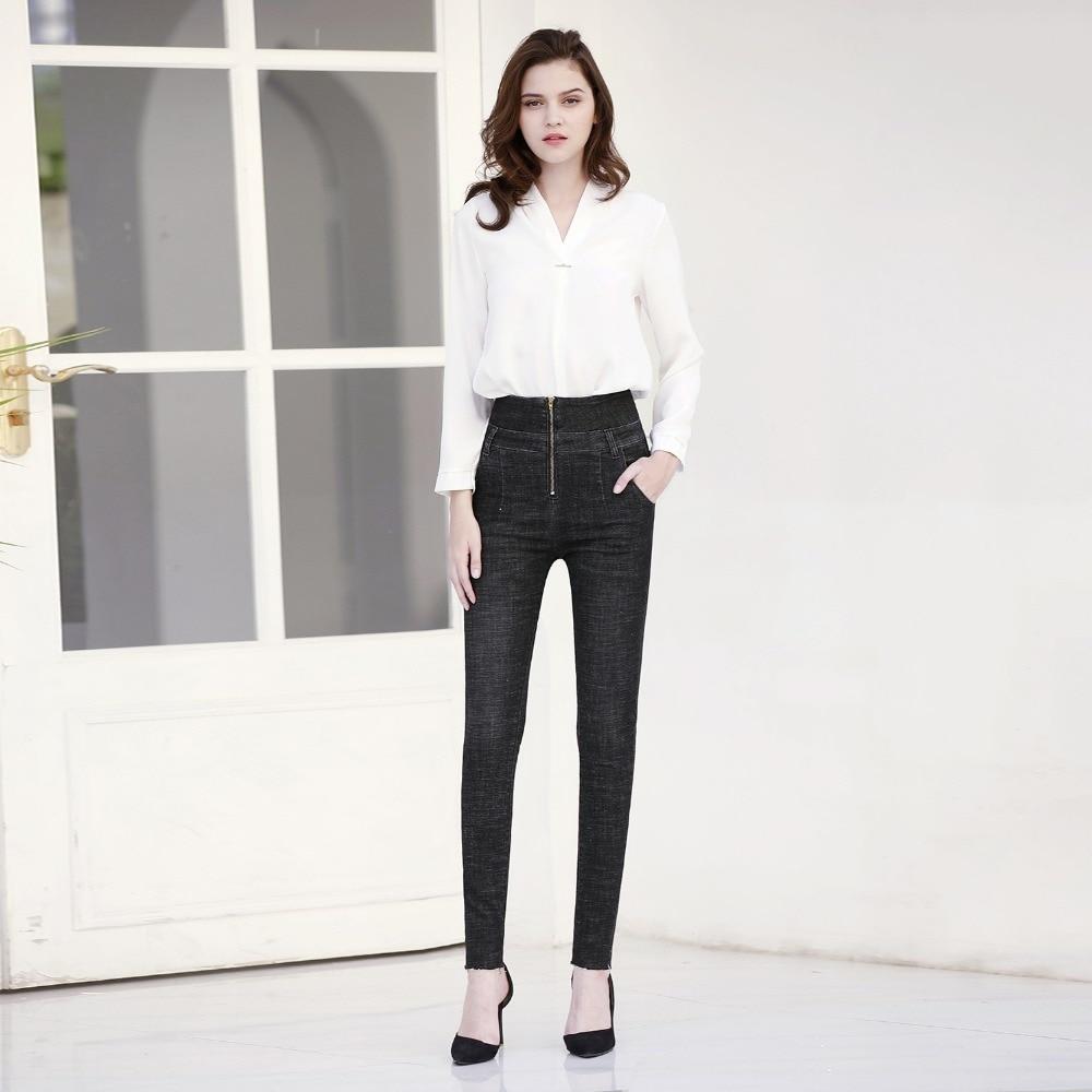 Mulher Moldar Hip Jeans Edição de Alta Elástico de Cintura Alta Moldar Sexy Pêssego Calças Hip Calças Apertadas B3247201-210