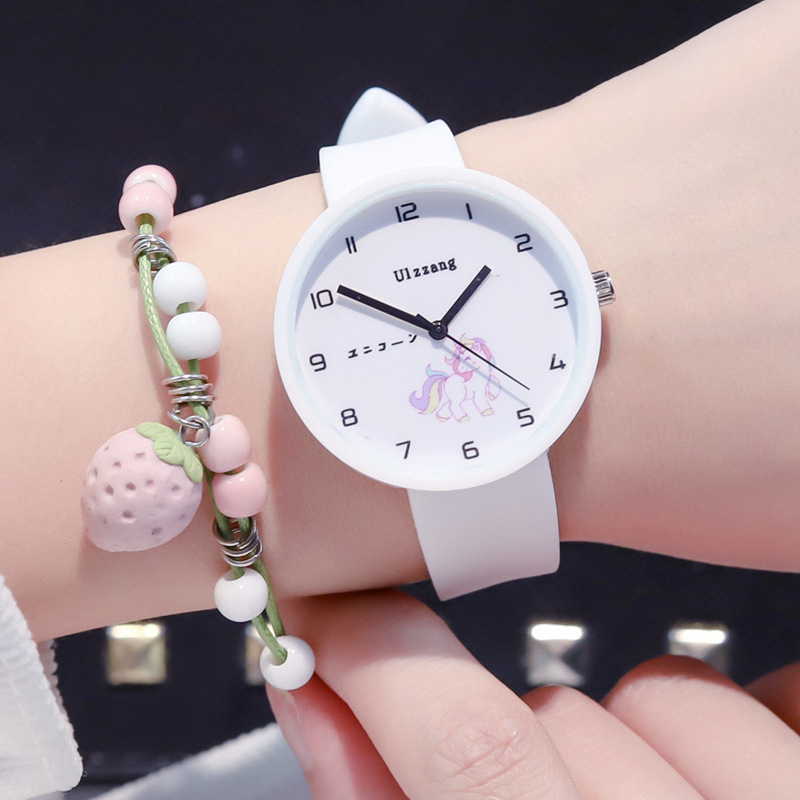 Ulzzang Brand Quartz Watch Children Cute Unicorn Wristwatch Harajuku Analog Jelly Students Clock Cartoon Boy And Girl Watches