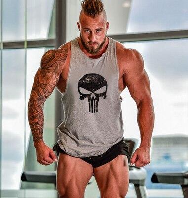 running - Skull Printed Bodybuilding Fitness Stringers Shirt Men Tank Top Running Vest Undershirt Gym Sport Tank Top