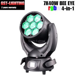Dobrej jakości LED pszczoła oko ruchome światło głowy 7 sztuk 40 w wiązki sprzęt DJ DMX w Oświetlenie sceniczne od Lampy i oświetlenie na