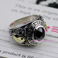 * 925 sterling silver authentic ov black natural stone six words dragon ring