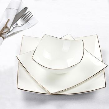 European Style Ceramics Flat Dinner Plate creative home Decor Porcelain Serving Dish Dinnerware for Beef Steak Salad Spaghetti