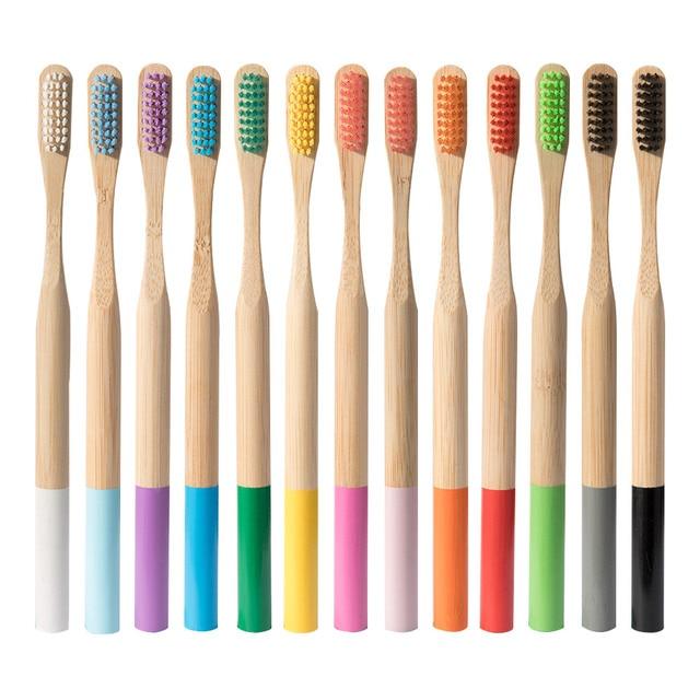 1 PC Medio Ambiente de madera del arco iris de cepillo de dientes de bambú de fibra mango de madera cepillo de dientes blanqueamiento arco iris