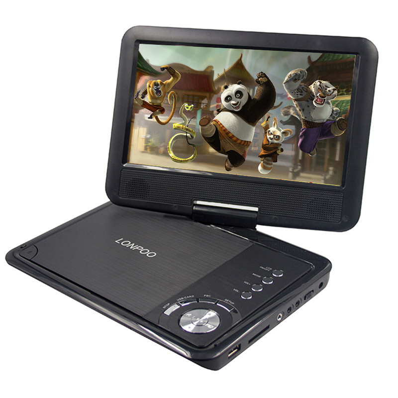 LONPOO 9 Inch portable DVD player with rotatable screen game function support CD player MP3/MP4 dvd player for home car