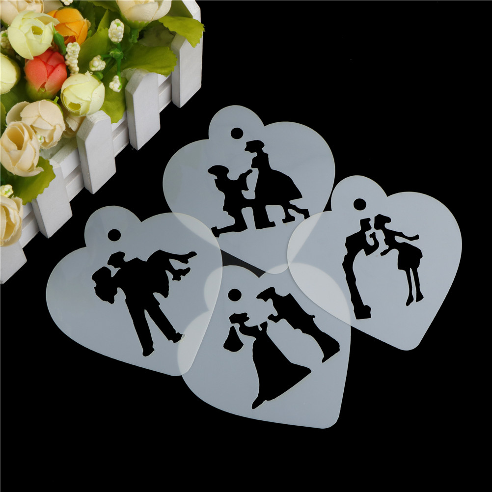 4PCS/Set Couple Lovers Cupcake Cookie Stencils Cake Template Mold Baking Tools For Cakes Wedding Decoration Cake Stencil image