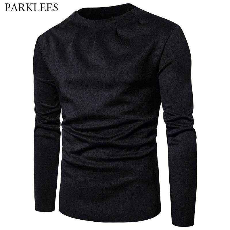 Cool Black Mens Sweatshirts Sweat Homme 2018 Unique Fold Collar Design Pullover Sweatshirt Men Cotton Casual Hip Hop Streetwear