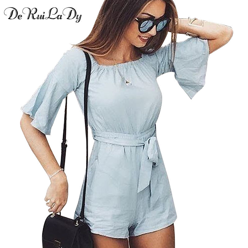 DeRuiLaDy Women 2017 Fashion Jumpsuit Vacation Summer Casual Jumpsuit Bodysuit Sexy Off The Shoulder Flare Sleeve