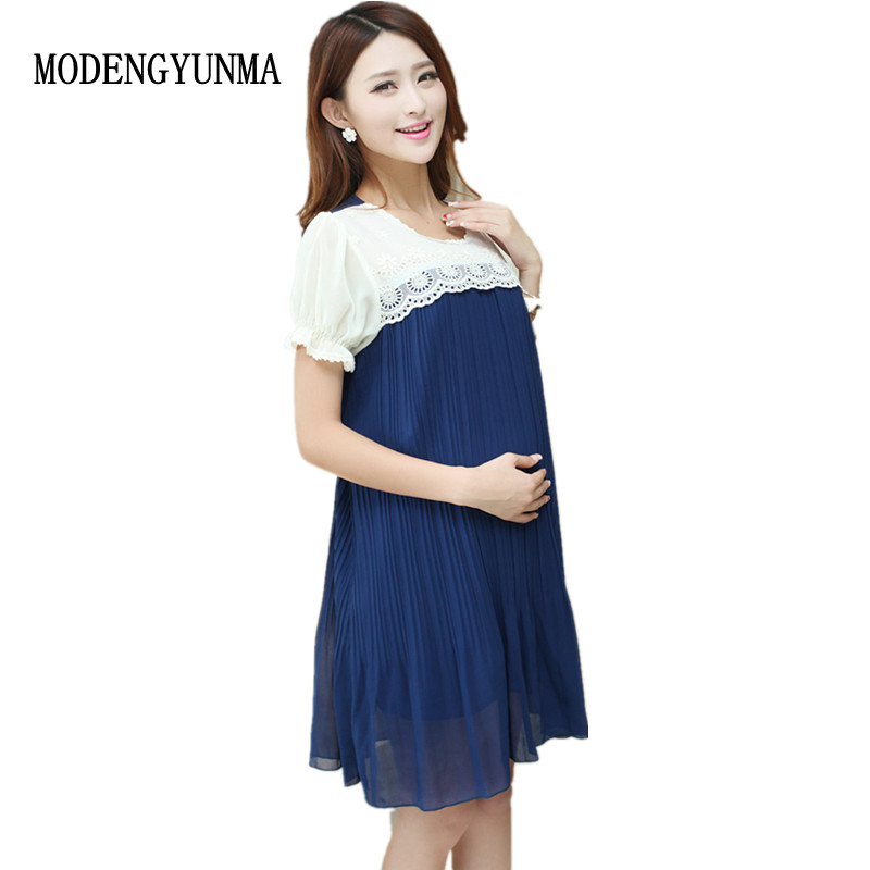 MODENGYUNMA Maternity Dresses lace Pleated Pregnancy Clothes summer patchwork maternity Clothes Pregnant Women chiffon dress