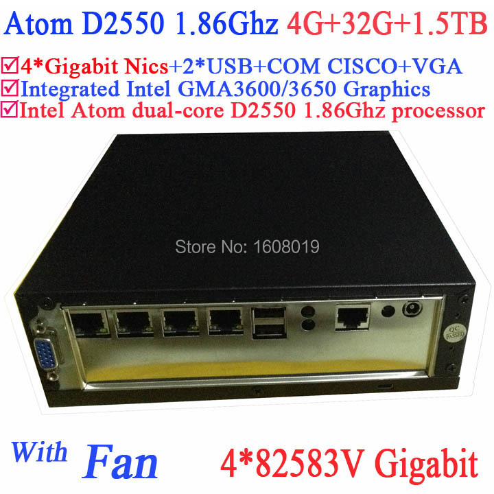 supermicro mini server with fan Intel Atom D2550 1.86Ghz CPU 4*82583V Gigabit LAN Wake on LAN Watchdog 4G RAM 32G SSD 1.5TB HDD вентилятор supermicro fan 0062l4