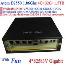 Supermicro мини-сервер с вентилятором Intel Atom D2550 1.86 ГГц ПРОЦЕССОРА 4*82583 V Gigabit LAN Wake on LAN Watchdog 4 Г RAM 32 Г SSD 1.5 ТБ HDD