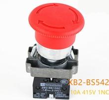 1Pcs High Quality XB2-BS542 22mm NC Red Mushroom Emergency Stop Push Button Switch