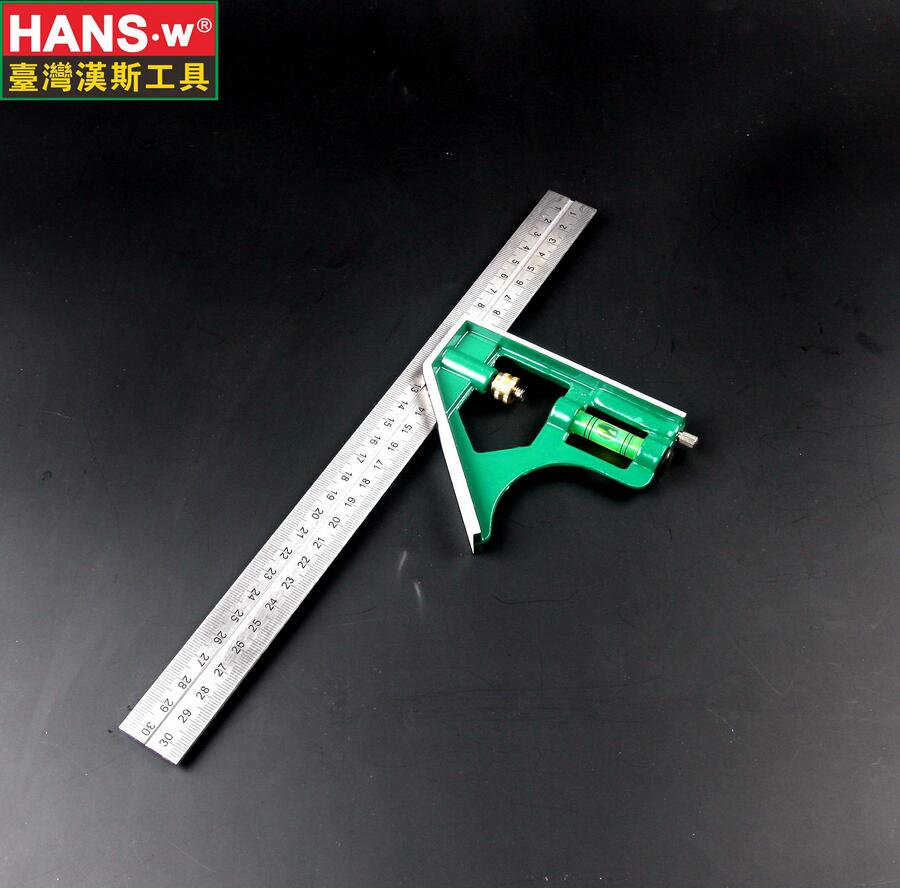 300mm Multifunctional Combination Square Ruler HANS Stainless Steel Horizontal Removable Square Ruler Angle Square Tools HS1023