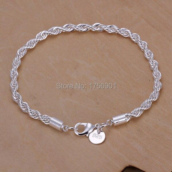 Sale Unisex trendy 925 sterling silver womens men female male 4MM contort chain  link Bangle Bracelet party friend gift box KL207 d8c0906d9b