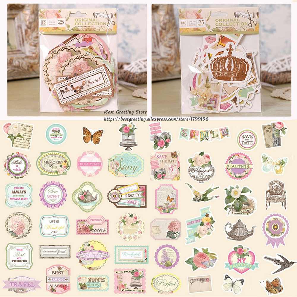 retro floral die cut pack paper vintage printed tags quotes titles