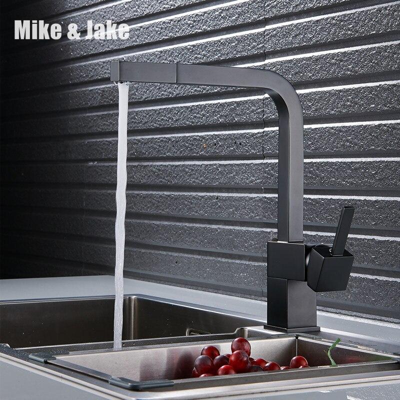 Черная краска вытащить кухонный кран квадратный латунь смеситель для кухни раковина смеситель для кухни Pull Out кухонный кран mj5555b