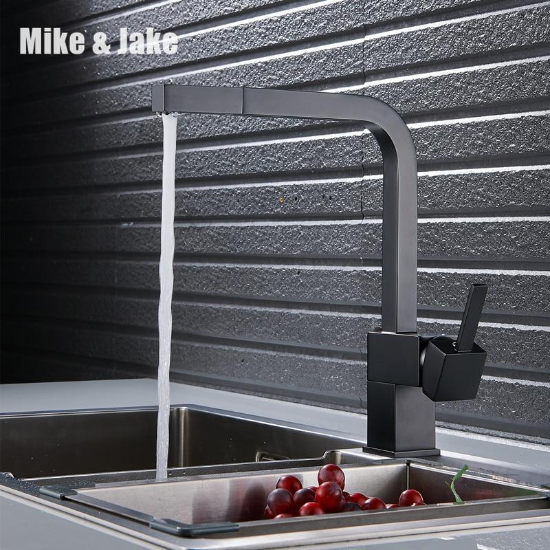 Noir peinture pull out cuisine robinet carré en laiton mélangeur de cuisine évier robinet mélangeur robinets de cuisine pull out robinet de cuisine MJ5555B