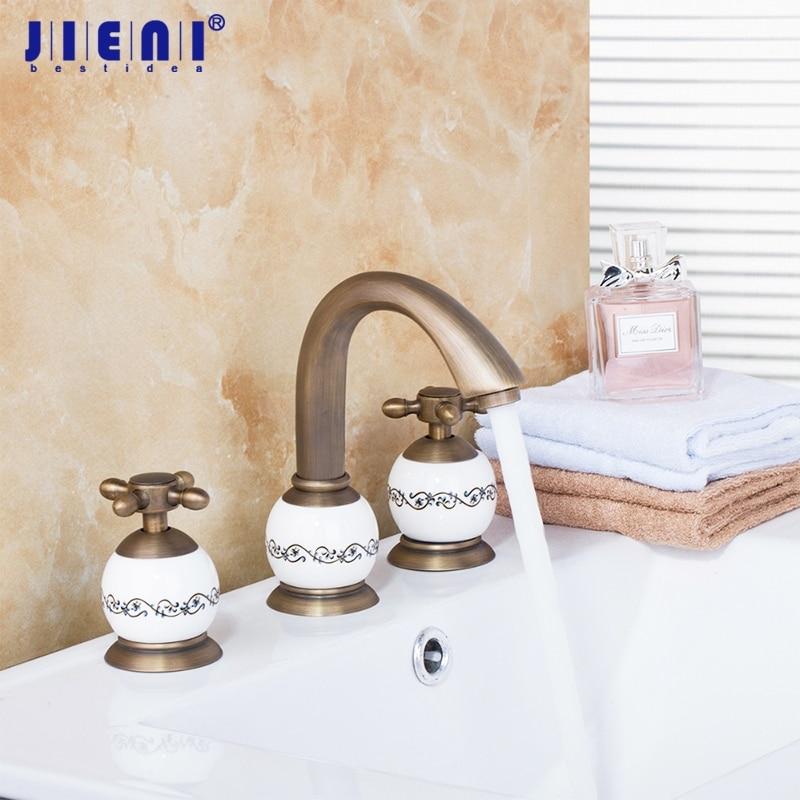 Luxury Brass Material Golden Hot Cold Bathing Faucet Tap 3PCS Set Antique Brass Bathtub Shower Basin Mixer Tap Faucet цена