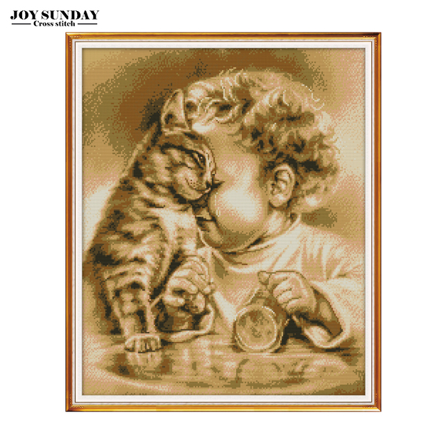 Joy Sunday Embroidery Counted Cross Stitch Kit Aida 14ct 11ct DIY Needlework Printed Canvas Painting DMC Overturned Cup Patterns