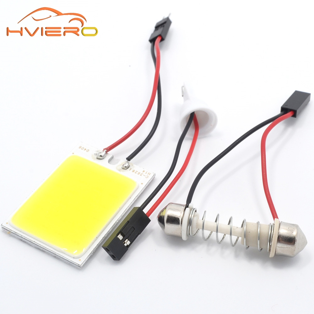 2Pcs T10 COB 24 SMD LED Panel White Car Auto Interior Parking Light Reading Map Lamp Bulb Dome Festoon BA9S 3 Adapter DC 12V