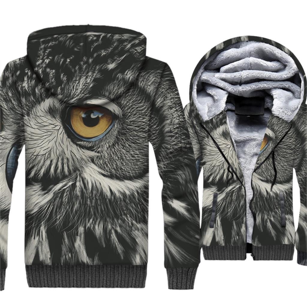 2018 New Fashion Streetwear Hoodies For Men Autumn Winter Thick Sweatshirts OWL Animal 3D Pattern Hip Hop Men 39 s Hoodie Jackets in Hoodies amp Sweatshirts from Men 39 s Clothing