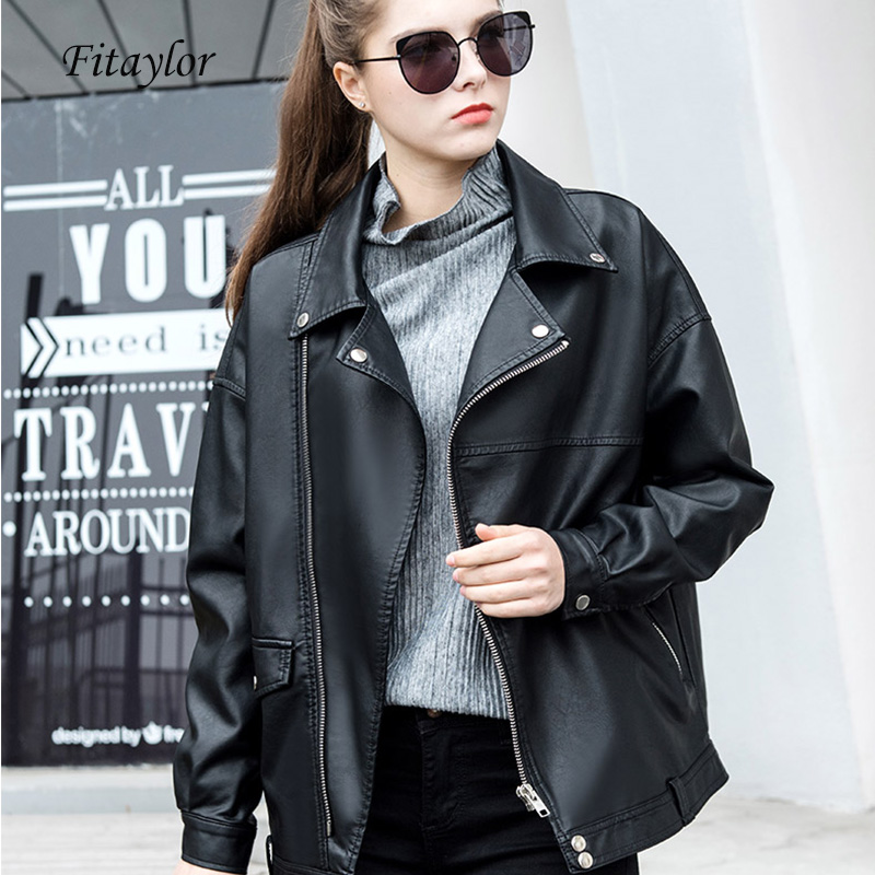 Fitaylor New Spring Faux   Leather   Jacket Women Loose Punk Biker Coat BF Jacket Turn Over Collar Bomber Jacket Motor Women