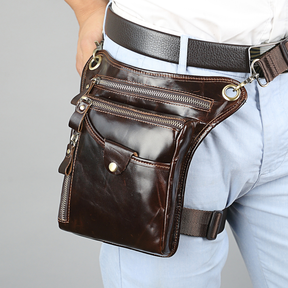 купить MEIGARDASS Genuine Leather Men Motorcycle Bags Fanny Pack Waist Thigh Leg Drop Bag Men's Belt Waist Bags Travel Shoulder Bag недорого