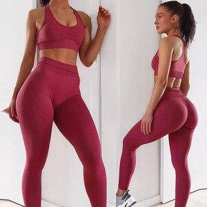 Image 3 - Seamless Gym Set Nylon Woman Sportswear 2 Piece Exercise Leggings Padded Sports Bras Women Fitness Wear Yoga Sets Sports Suits L