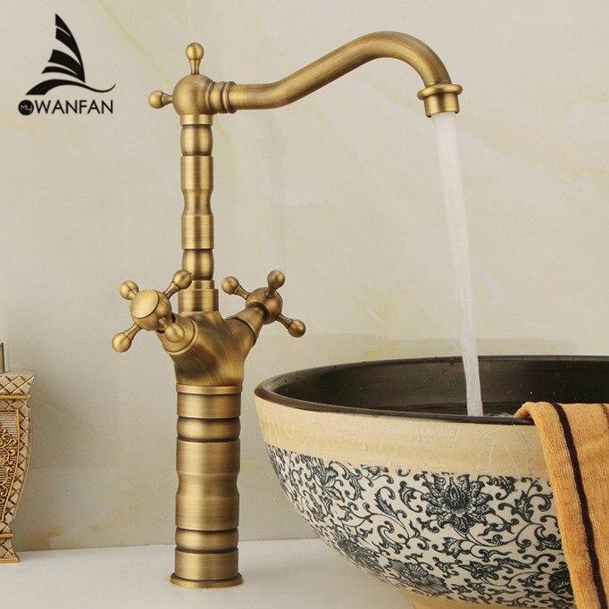 Basin Faucets Antique Brass Bathroom Basin Sink Faucets Swivel Dual Handle Hot Cold Washbasin Bath Mixer