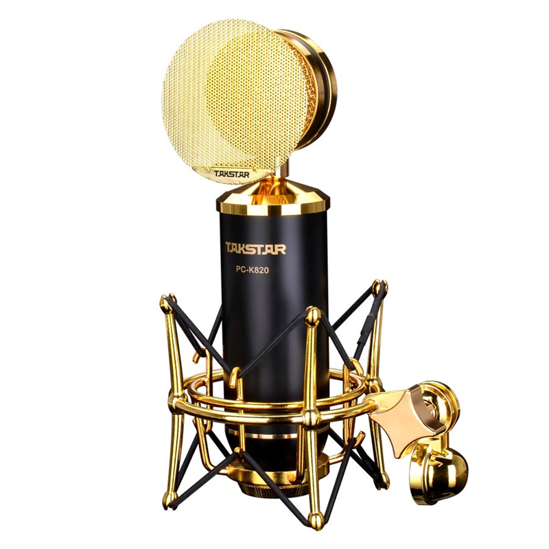 Original Takstar Pc-K820 Professional Gold-Plated Microphone For Professional Recording Studios Stage Performances InstrumentsOriginal Takstar Pc-K820 Professional Gold-Plated Microphone For Professional Recording Studios Stage Performances Instruments