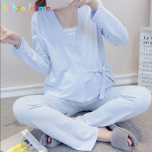 3Piece Spring Autumn Maternity Nightwear Pregnancy Clothing Set Cotton Pregnant Pyjama Nursing Clothes Breastfeeding Suit BC1653
